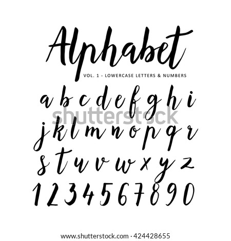 Hand Drawn Handwritten Vector Alphabet Brush Font Script Isolated