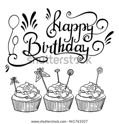 Hand drawn happy birthday card vector stock vector 461761027 hand drawn happy birthday card vector illustration sketch with lettering decorative elements bookmarktalkfo Images