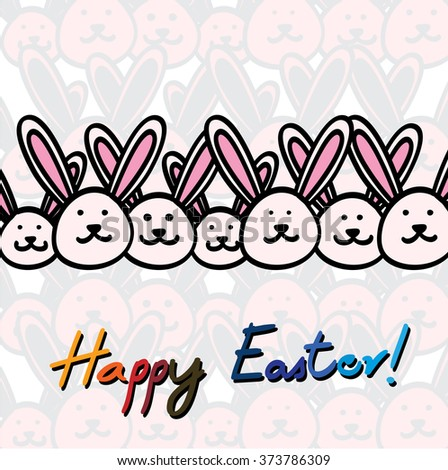 hand drawn happy easter card vector graphic with easter bunnies