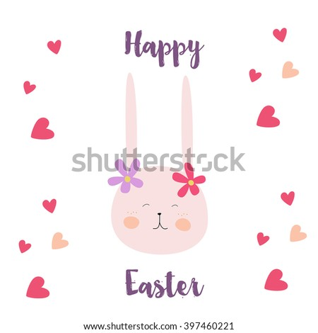 Hand-drawn happy Easter day postcard print with carrots, bunnies letters. Design elements. Doodle hand drawn style illustration for greeting card, t-shirts and bags print, scrapbooking - stock vector