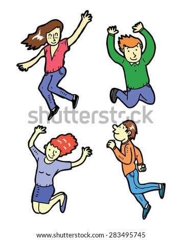 hand drawn happy people - stock vector