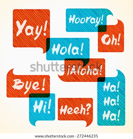 Hand drawn hatched orange and blue speech bubble set with short phrases