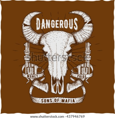 Hand drawn head of a bull with guns, t-shirt design - stock vector