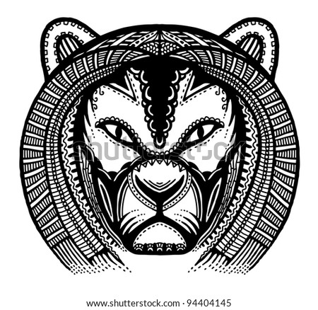 Hand drawn head of lion, vector illustration, ancient style - stock vector