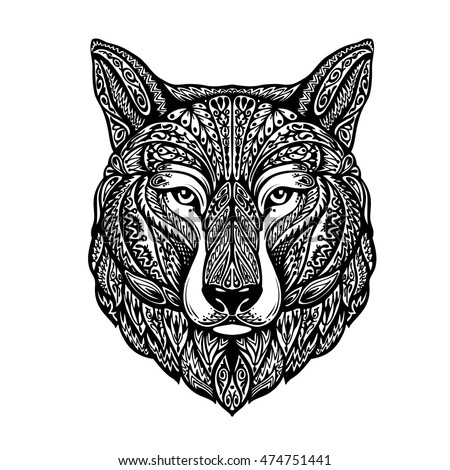 Hand drawn head wolf. Ethnic patterns. Dog, husky or laika. Vector illustration
