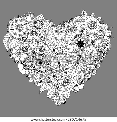 Hand drawn Heart doodle background. Vector illustration - stock vector
