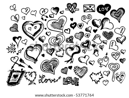 hand drawn heart icons - stock vector