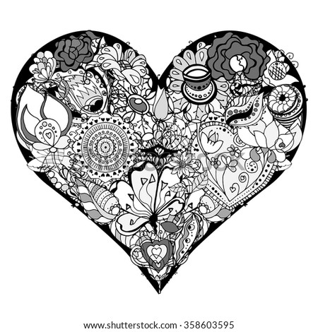 Hand drawn Heart of flower doodle background. Black and white. Vector illustration