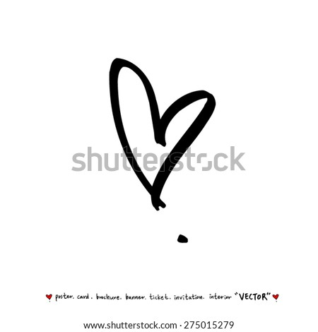 Hand drawn Heart / vector - calligraphy