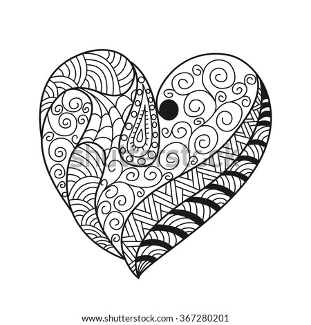 doodle heart coloring page leaves flowers sketch design element stock vector 4277