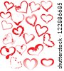 Hand drawn hearts - stock vector