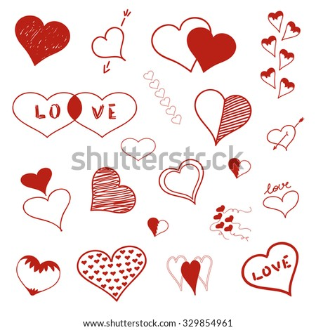 Hand Drawn Hearts Vector Love Symbols Stock Vector Royalty Free