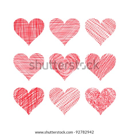 Hand drawn hearts isolated on white (vector) - stock vector