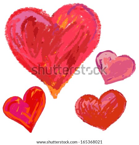 Hand drawn hearts. vector illustration. - stock vector