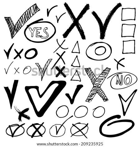 Hand drawn ?heck mark buttons. Sketch vector illustration. - stock vector