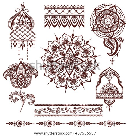 Mandala Set Other Elements Vector Mandala Stock Vektor