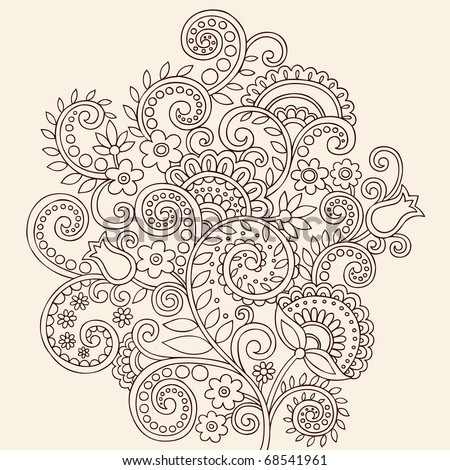Hand-Drawn Henna Mehndi Paisley Doodle Flowers and Vines Vector Illustration Design Element - stock vector