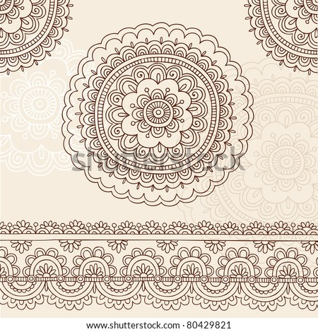 Hand-Drawn Henna Mehndi Tattoo Flower Mandala and Paisley Border Doodle Vector Illustration Design Elements - stock vector