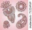 Hand-Drawn Henna Mehndi Tattoo Flowers and Paisley Doodle Vector Illustration Design Elements - stock vector