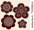 Hand-Drawn Henna Mendhi Mandala Paisley Flower Silhouettes Vector Illustration Design Elements - stock vector