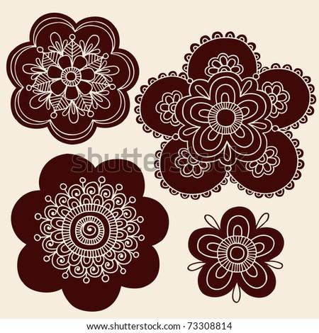 Hand-Drawn Henna Mendhi Mandala Paisley Flower Silhouettes Vector Illustration Design Elements - stock vector