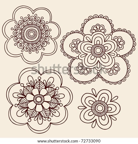 Hand-Drawn Henna Mendhi Mandala Paisley Flowers Doodle Vector Illustration Design Elements - stock vector