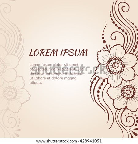 Hand drawn henna pattern design with paisley flower. Indian mehndi background.  - stock vector
