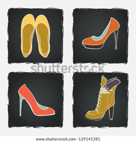 Hand drawn high hill shoes on chalkboard background. Vector