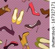 Hand drawn high hill shoes seamless pattern on polka dot background. - stock