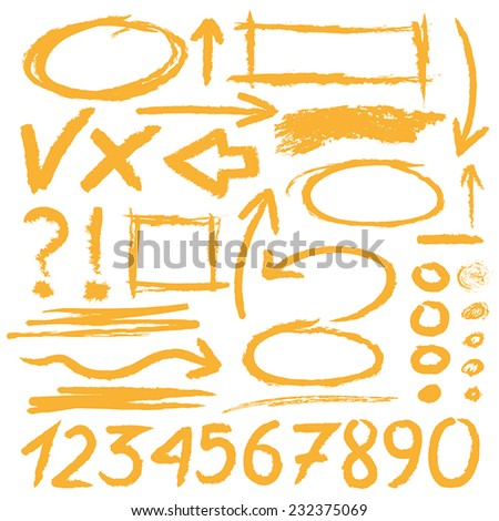 Hand drawn highlighter elements in yellow - stock vector