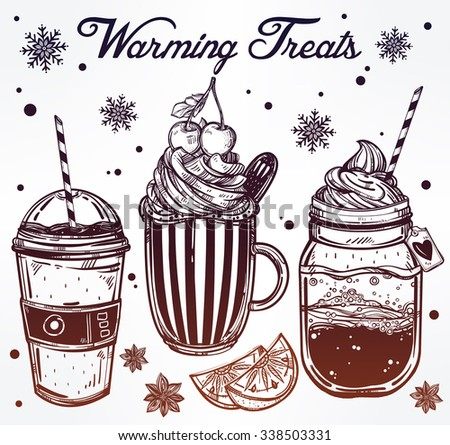 Hand drawn highly detailed tasty warming cold weather drinks products set. Isolated vector illustration. Food elements. Excellent template for creating your menu design.  - stock vector