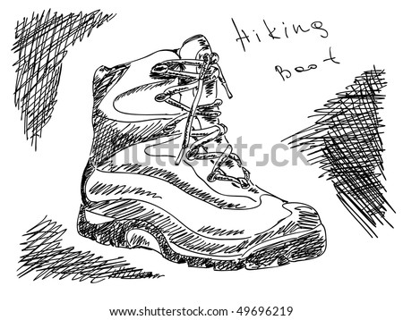 Hand drawn hiking boot Vector - stock vector