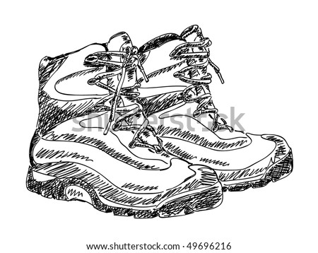 Hand drawn hiking boots Vector - stock vector