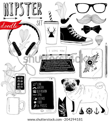 hand-drawn hipster doodle set - stock vector