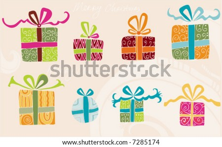 Hand drawn holiday presents.