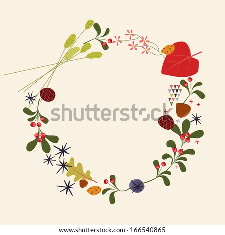 Hand Drawn Holiday Wreath - Illustration  - stock vector
