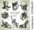 Hand drawn Holidays set  - stock photo