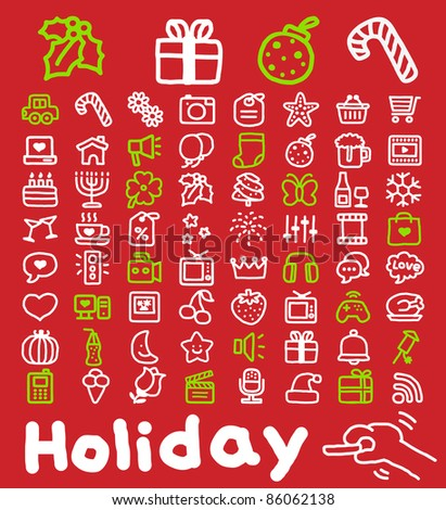 Hand drawn Holidays,xmas icon set