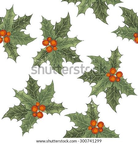 Hand drawn holly berry seamless pattern in vintage style - stock vector