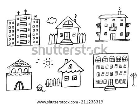 Hand drawn homes - stock vector