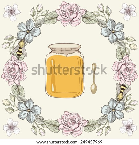 Hand drawn honey jar, spoon and bees in floral frame. Colorful illustration. Vintage engraving style - stock vector