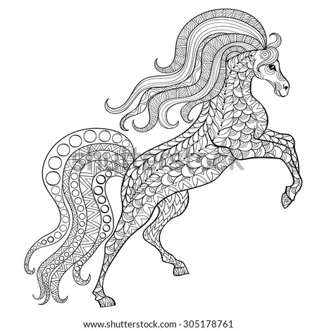 Hand drawn horse for antistress Coloring Page with high details isolated on white background, illustration in zentangle style. Vector monochrome sketch. Animal collection. - stock vector