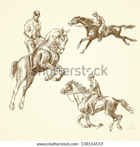 hand drawn horses - stock vector