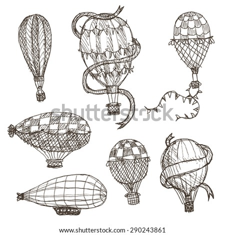 hand drawn hot air balloons in a rough sketch style, isolated on white - stock vector