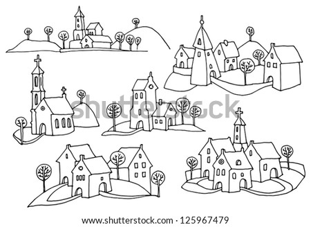 Hand drawn houses or rural landscape - stock vector