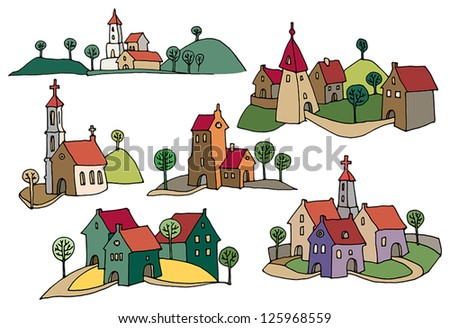 Hand drawn houses or rural landscape, color version - stock vector