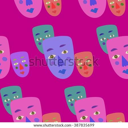 hand drawn human faces, masks seamless pattern. vector illustration - stock vector