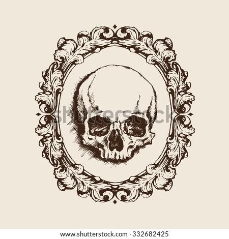 Hand-drawn human skull in oval filigree frame. Vanitas vector illustration - stock vector