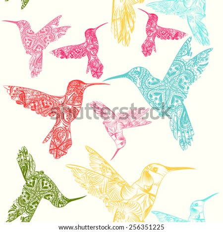 Hand drawn hummingbirds from ornaments - stock vector