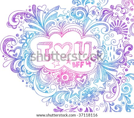 Hand-Drawn I Love You Sketchy Notebook Doodle on Lined Paper Background - stock vector